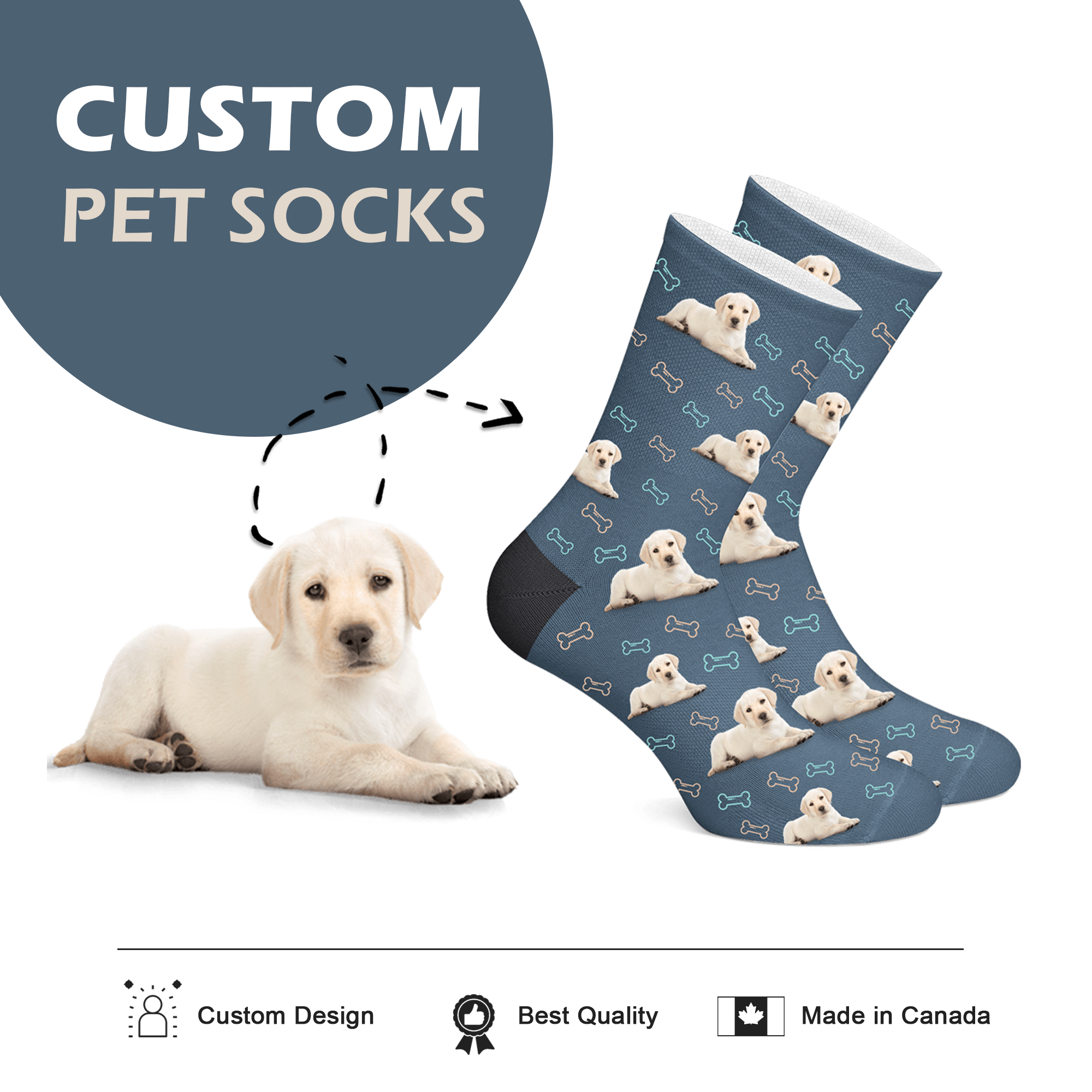 Custom Socks with Dog Print - Full Body