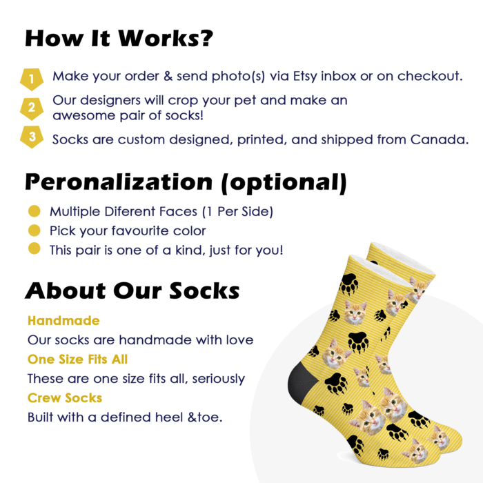 Customizable Cat Socks - PRINT CAT ON YOUR SOCKS - 1