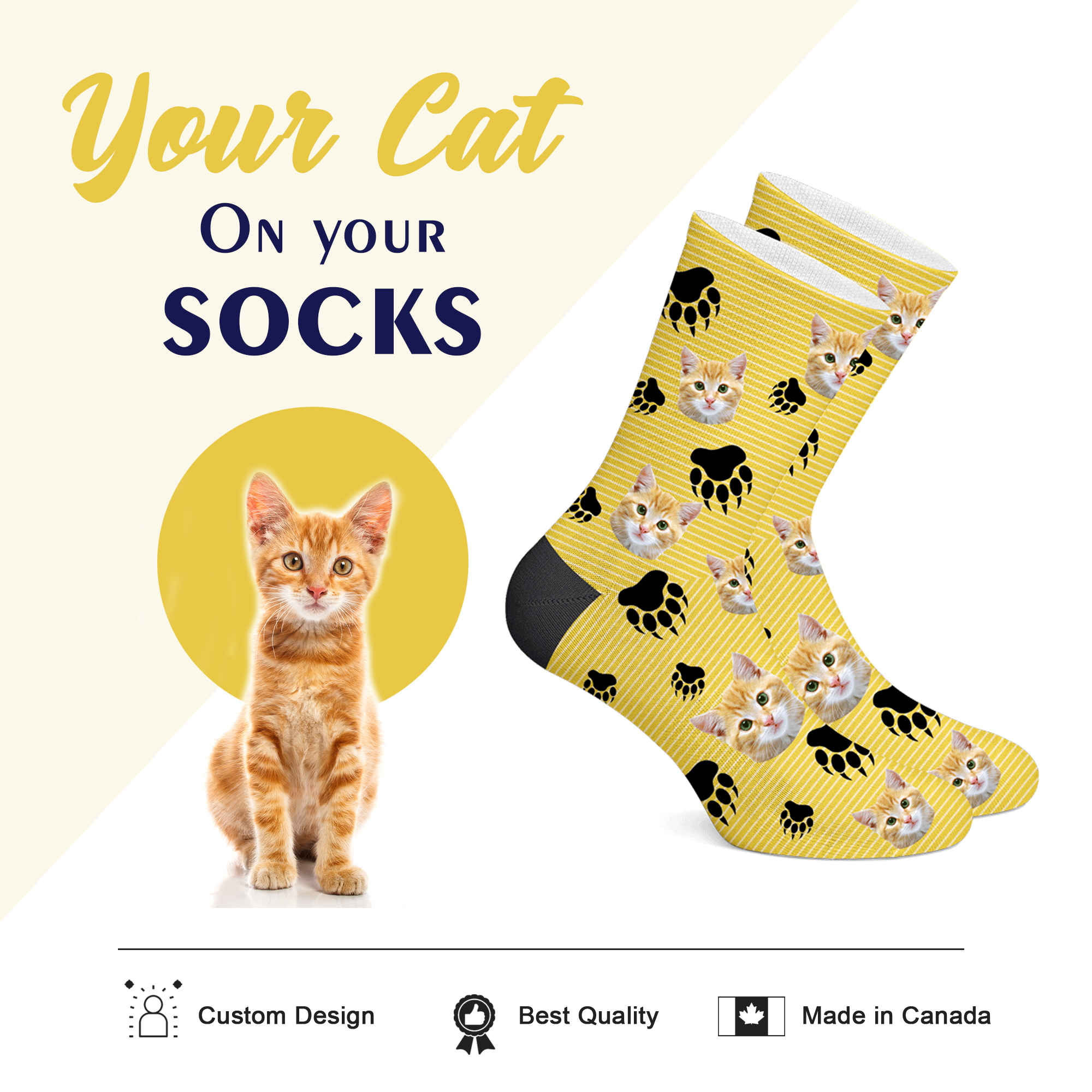 Customizable Cat Socks - PRINT CAT ON YOUR SOCKS