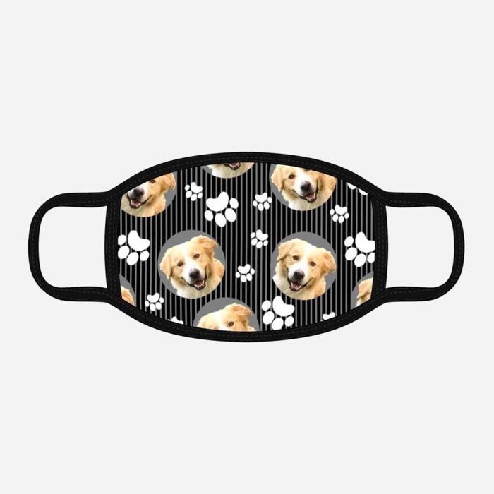 Custom Dog Mask W/Stripes Black